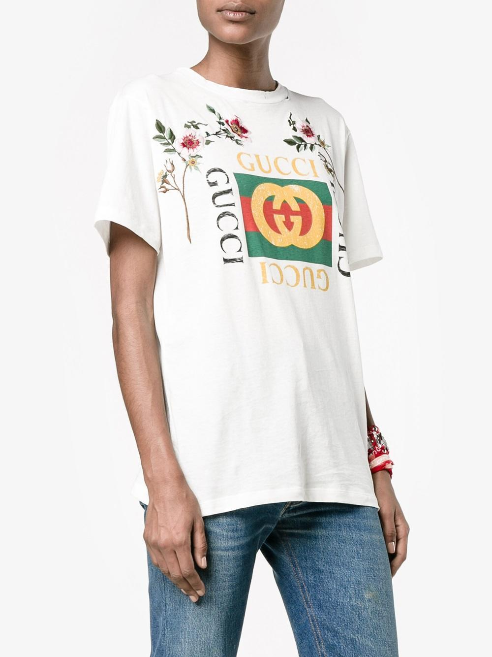 3589aed84d68 Gucci 'fake ' Embroidered T-shirt in White - Lyst