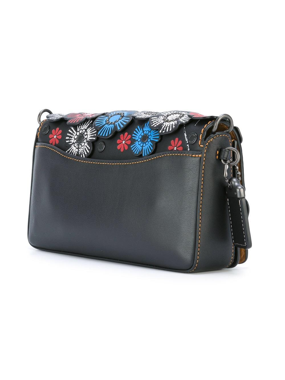 Lyst - Coach Tea Rose Shoulder Bag In Black