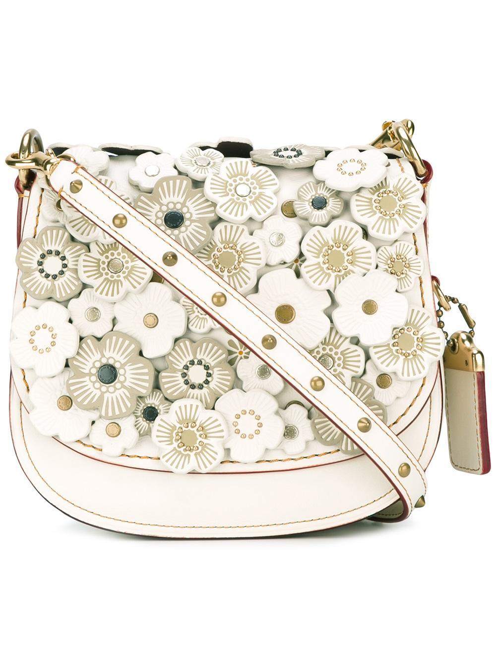 Lyst - COACH Flower Embellished Crossbody Bag 7e371d3fd4541
