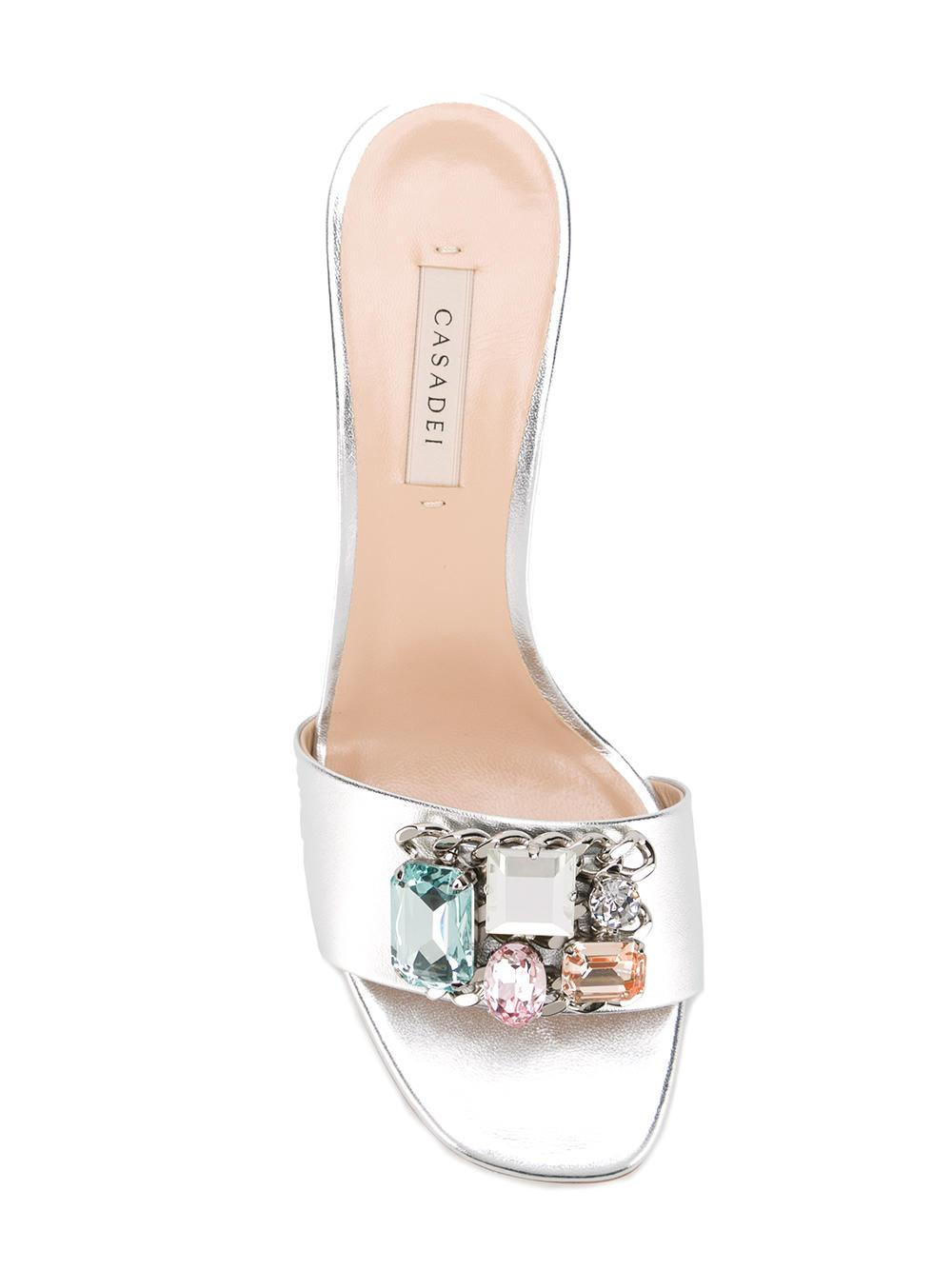 Lyst Casadei Crystal Embellished Mules In Metallic