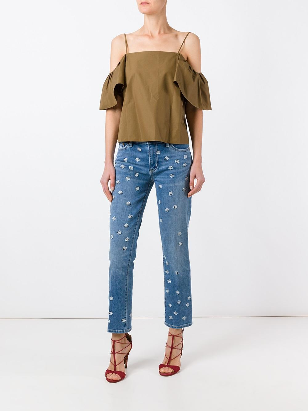 Lyst tory burch embroidered jeans in blue for Tory burch fashion island