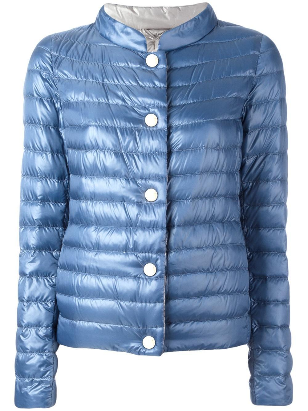 lyst herno high neck padded jacket in blue. Black Bedroom Furniture Sets. Home Design Ideas