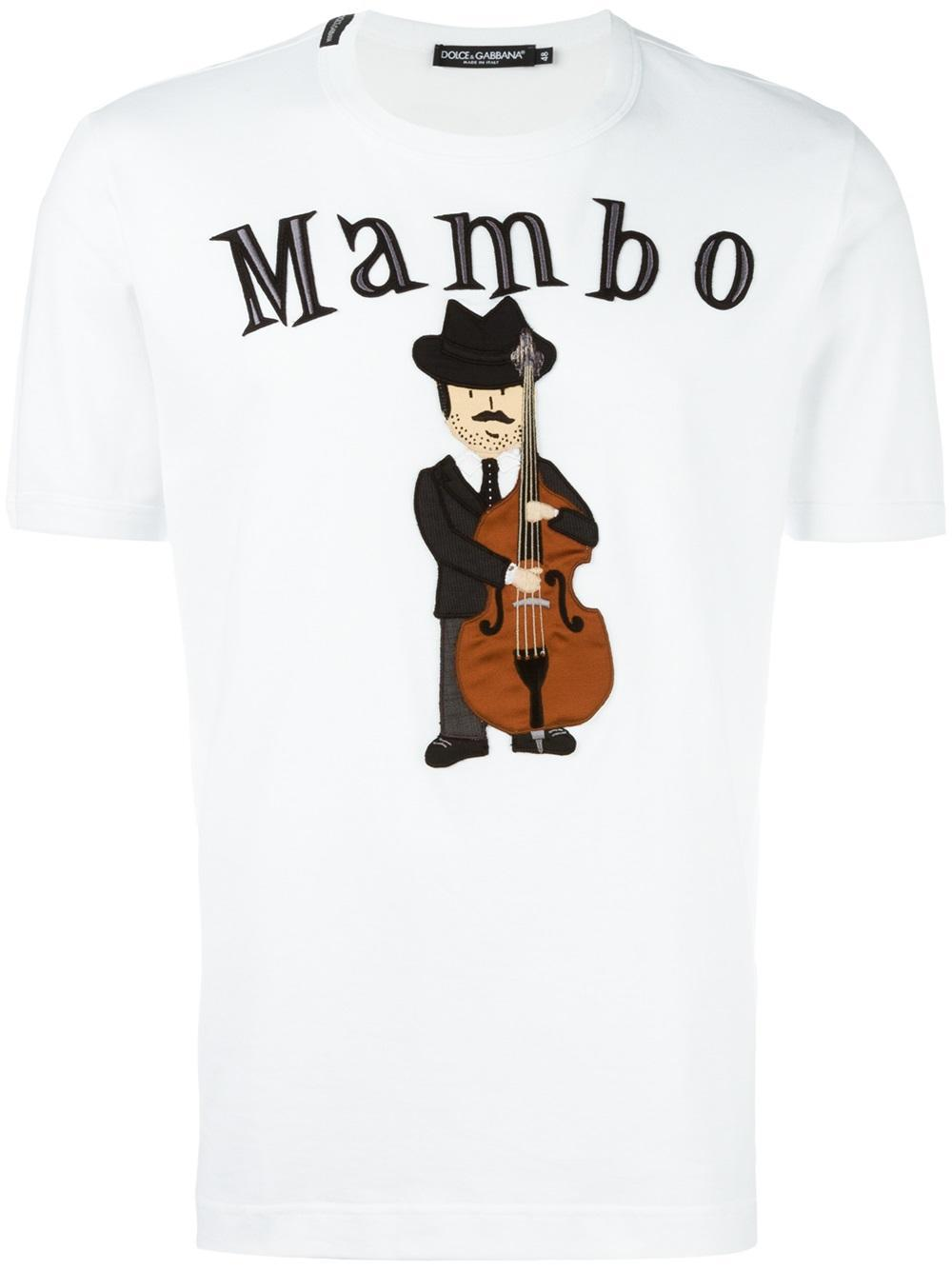 dolce gabbana mambo musician patch t shirt in white for. Black Bedroom Furniture Sets. Home Design Ideas
