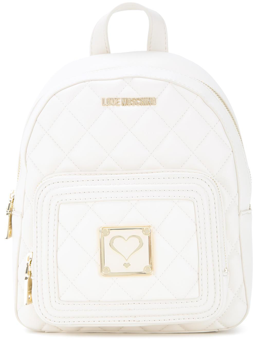 lyst love moschino quilted backpack in white. Black Bedroom Furniture Sets. Home Design Ideas