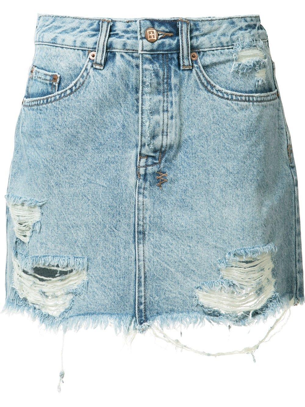 d5c44d9ab3a61 [28% OFF] [HOT] 2019 Ripped Denim Skirt In BLUE | ZAFUL