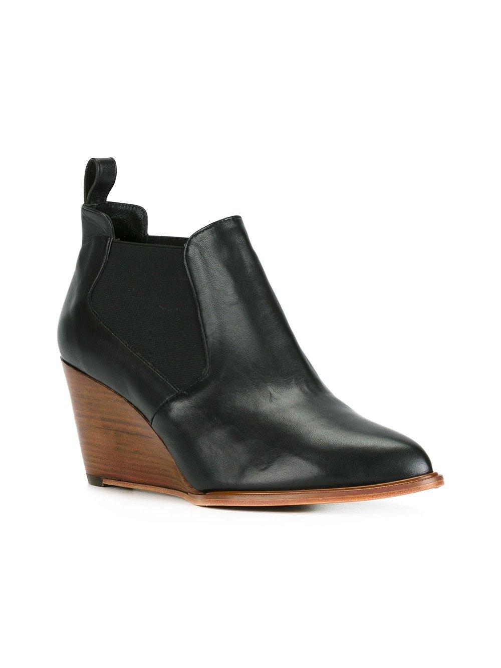 robert clergerie wedge ankle boots in black lyst