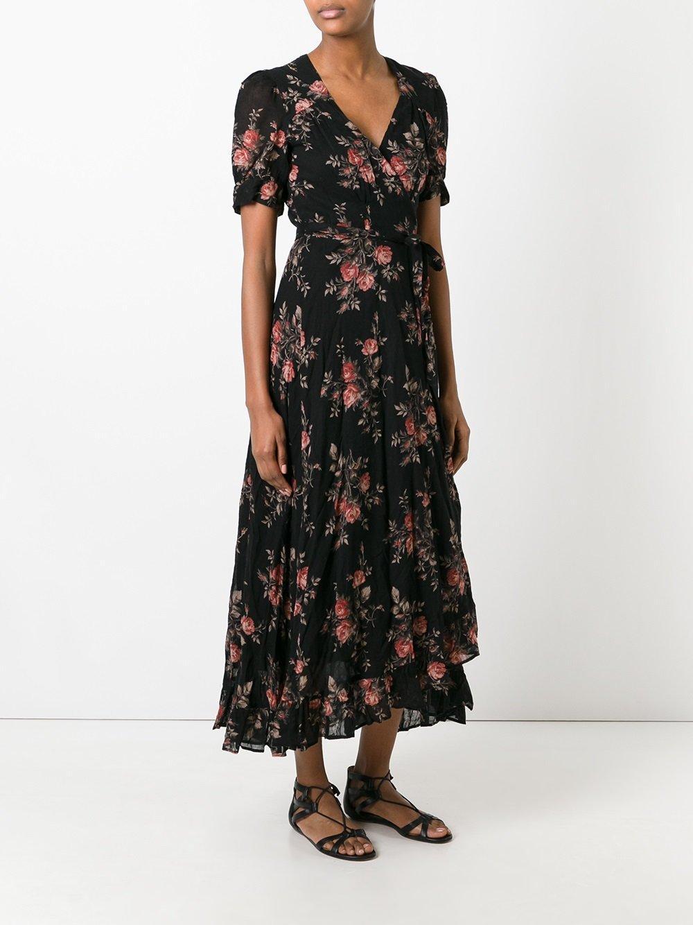Lyst Denim Amp Supply Ralph Lauren Floral Wrap Dress In Black
