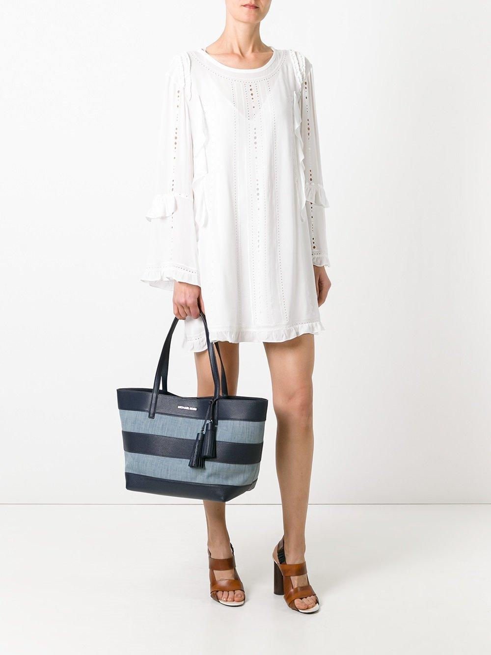 Michael Michael Kors Striped Shopper Tote In Blue Lyst