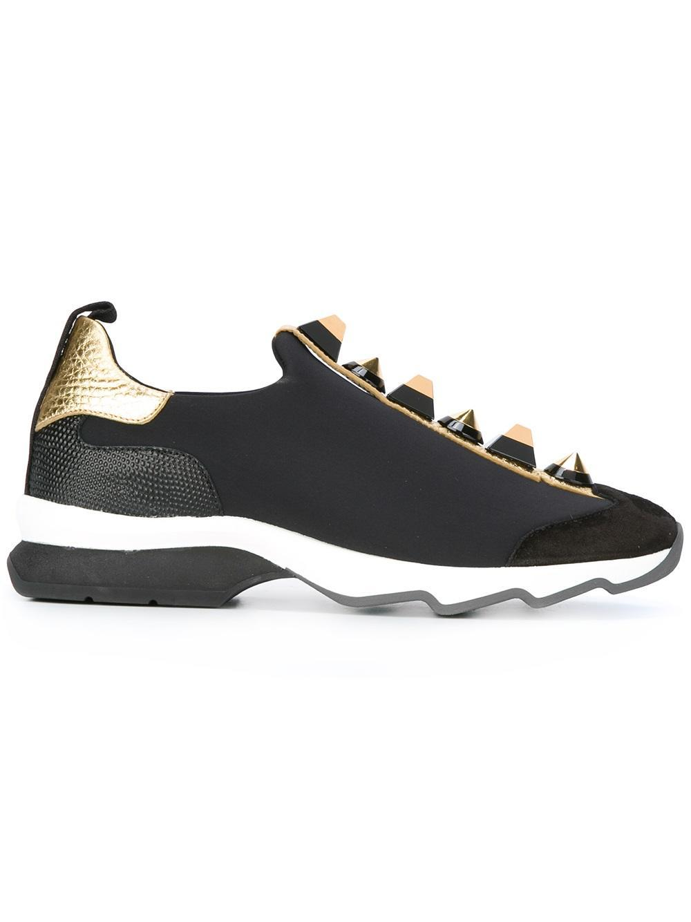 Lyst Fendi Studded Sneakers In Black For Men