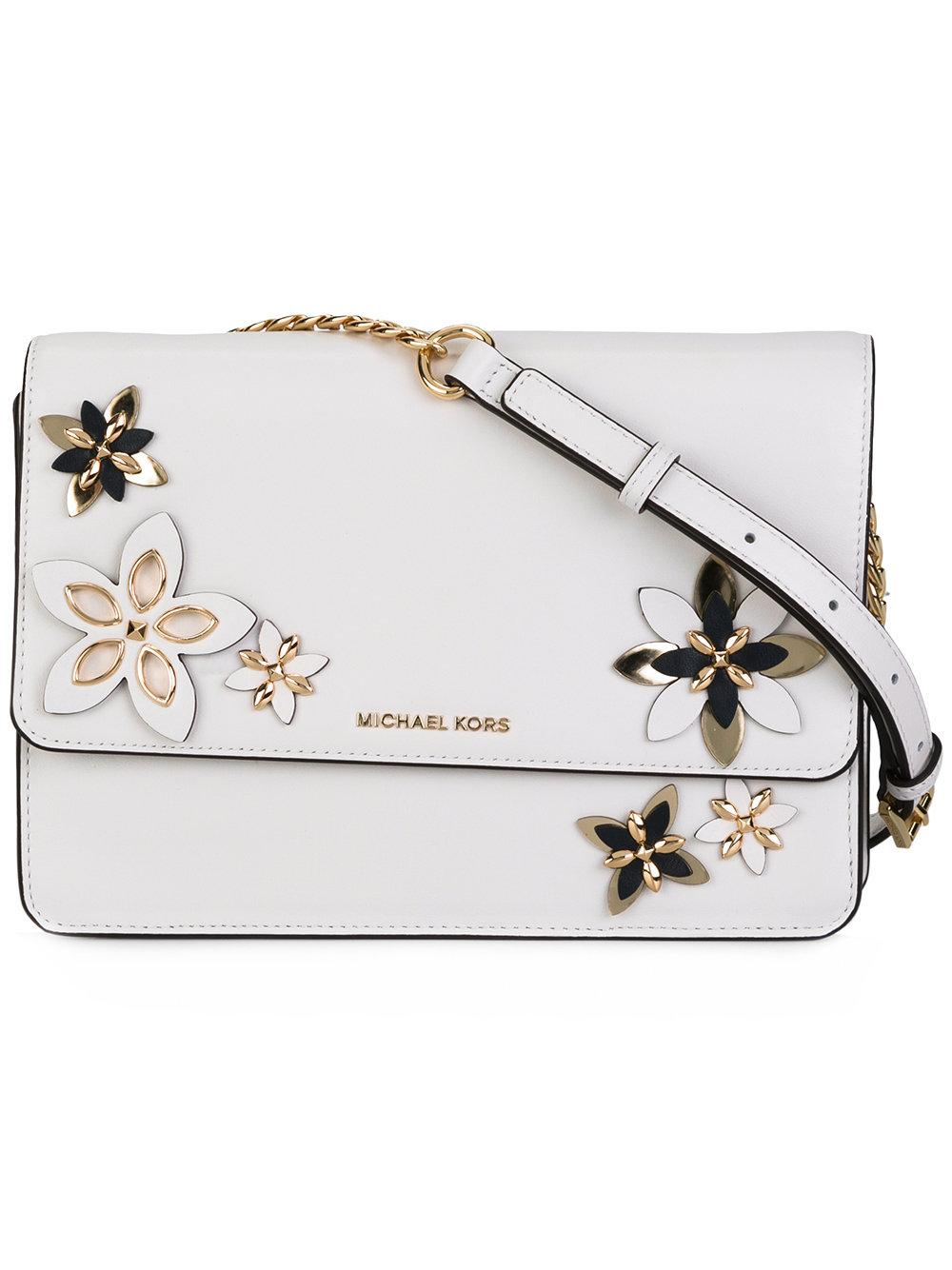 Michael Michael Kors Flowers Detail Cross Body Bag In White | Lyst