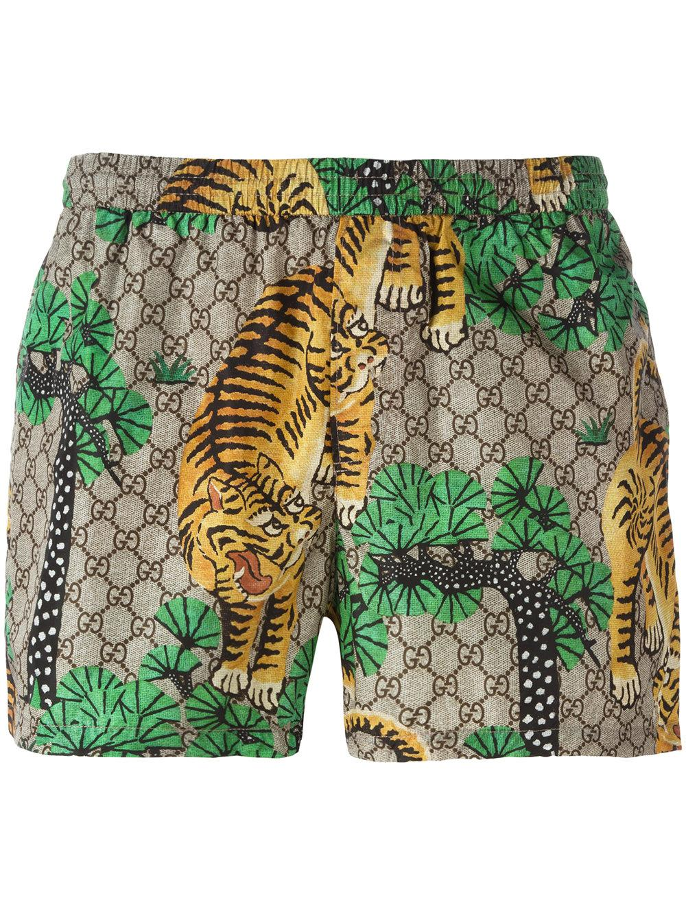 01e55202eb Gucci Bengal Swim Shorts in Green for Men - Lyst