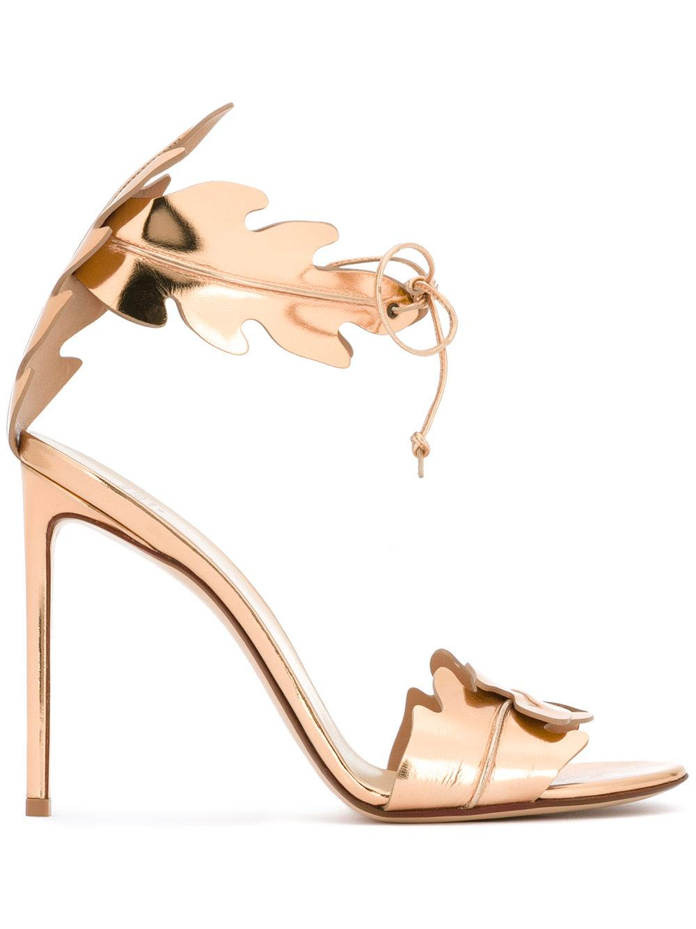 leaves motif sandals - Metallic Francesco Russo 578SkDP