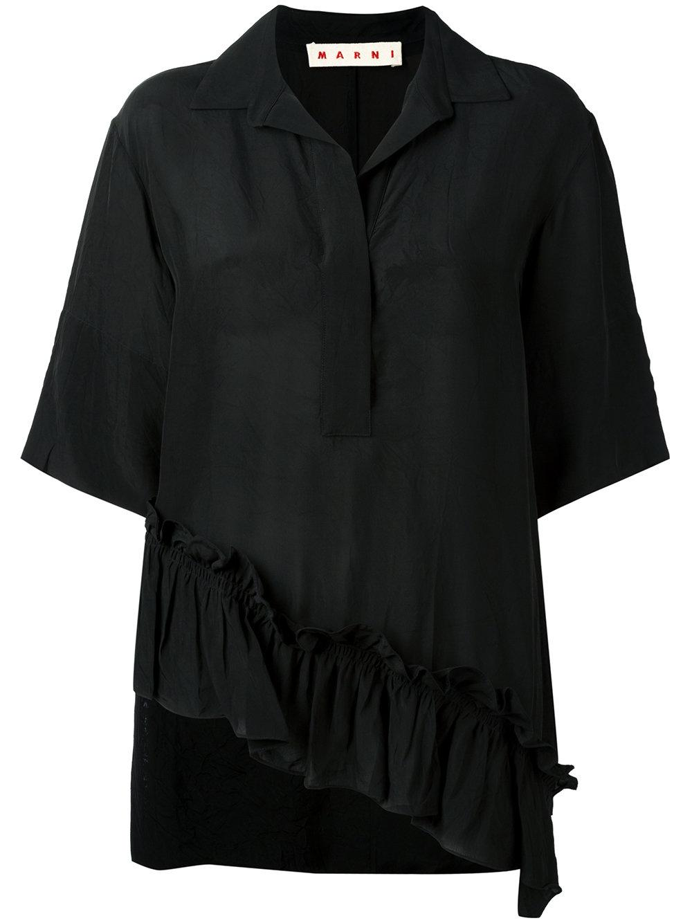 Available In Hunter, Black, Mauve, And Ivory Collared Button Adjustable Straps Ruffle Sleeve % Polyester.
