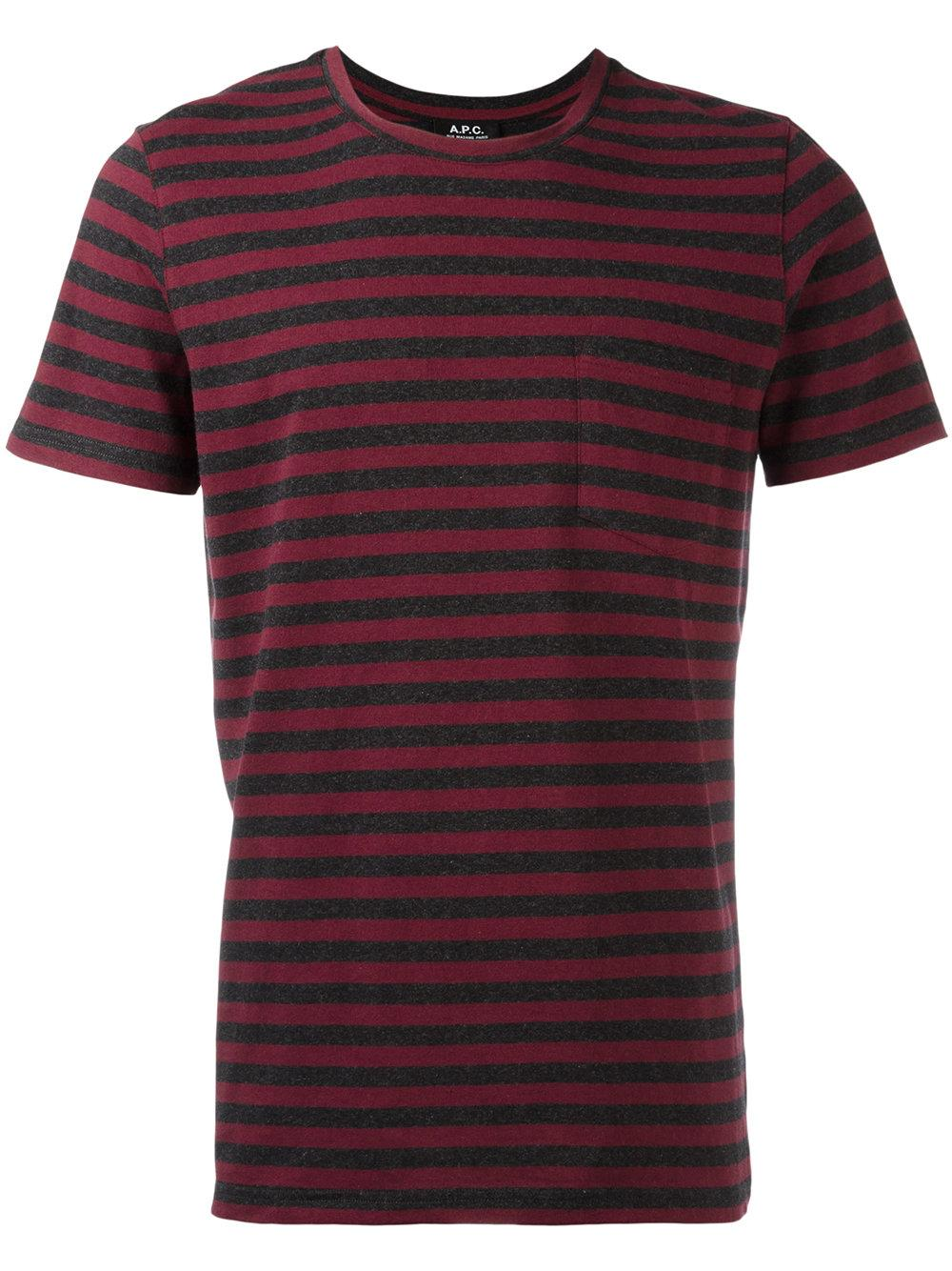 Lyst a p c striped pocket t shirt in gray for men for Grey striped t shirt