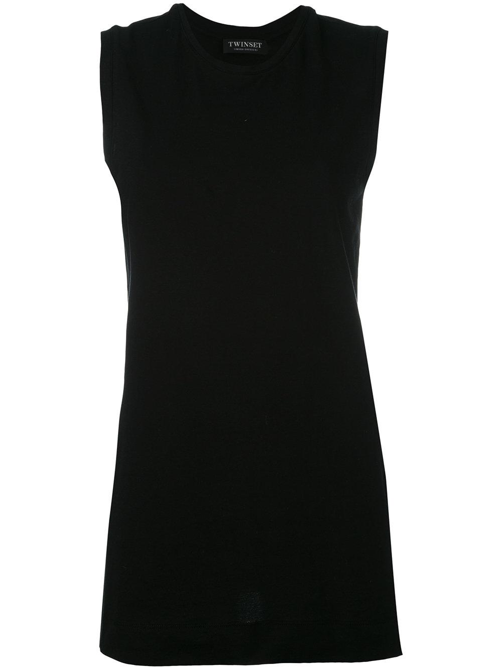 Twin Set Oversized Sleeveless T Shirt In Black Lyst