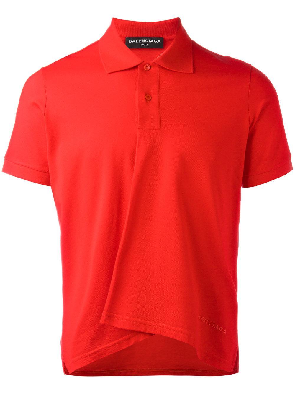 Lyst Balenciaga Pleated Polo Shirt Men Cotton S