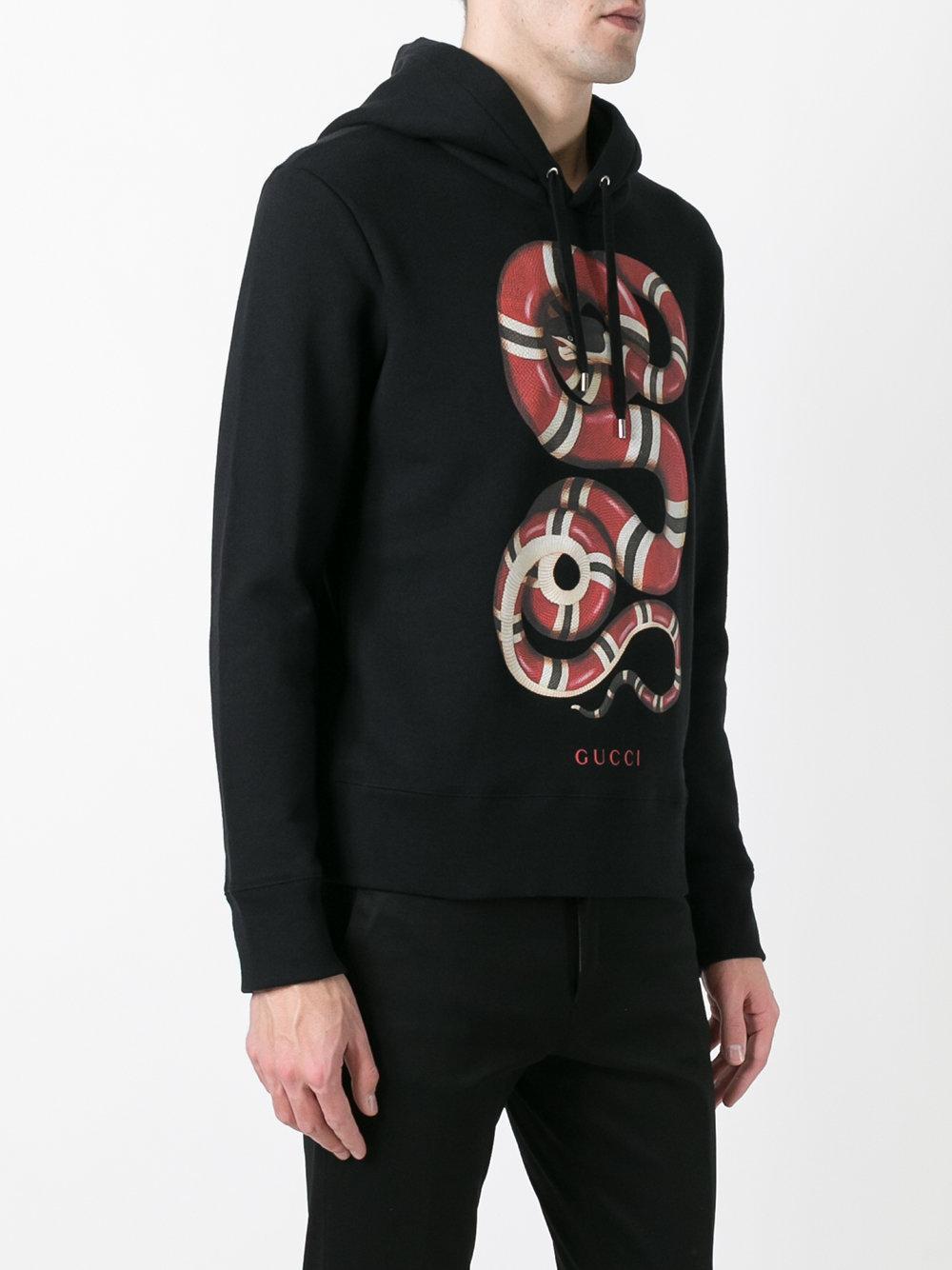 916e192d65f Lyst - Gucci Kingsnake Print Hoodie in Black for Men