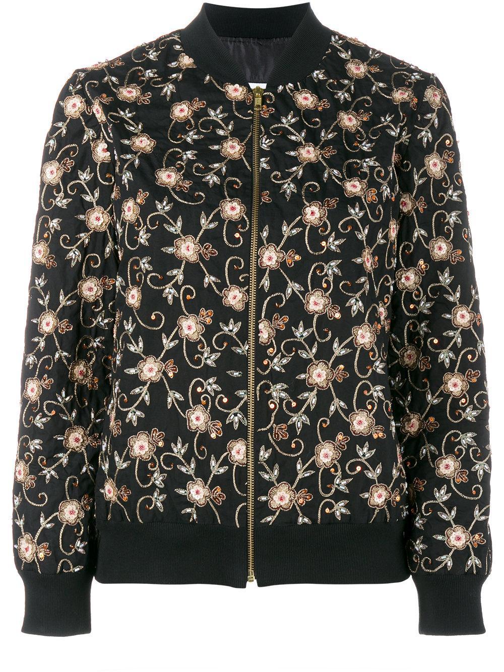 Ashish floral embroidered bomber jacket in black save