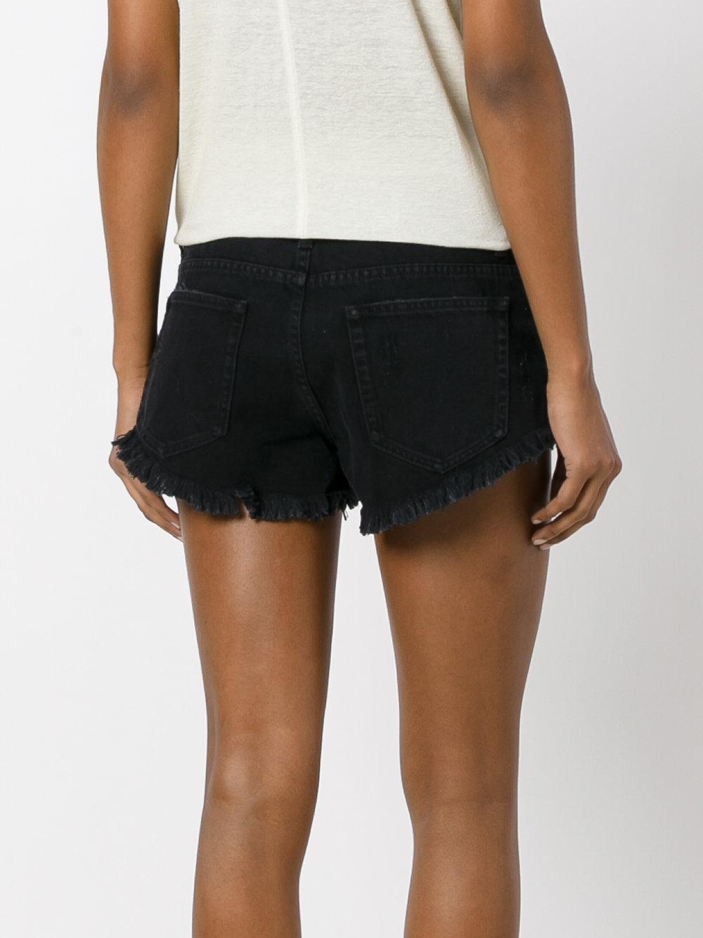 The Kooples Frayed Denim Shorts In Black Lyst