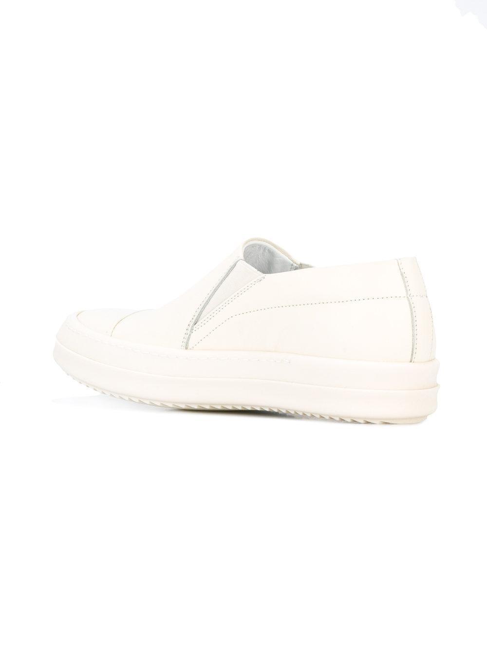 Rick Owens White Intrecciato Dodger Slip-On Sneakers