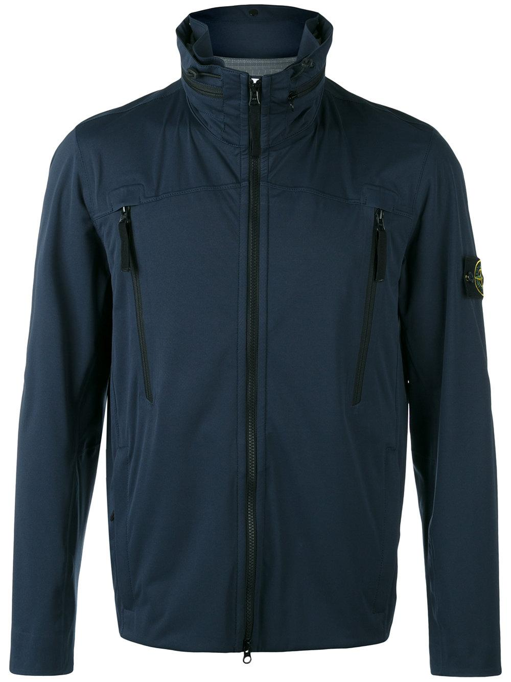 lyst stone island iconic branded windbreaker jacket in blue for men. Black Bedroom Furniture Sets. Home Design Ideas