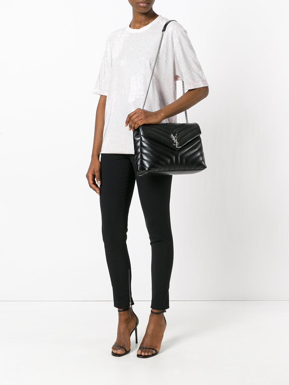 Saint Laurent Medium Lou Lou Monogram Chain Bag In Black
