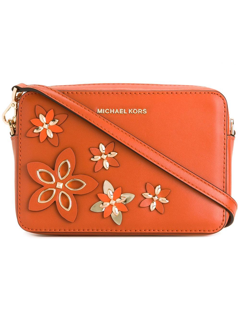 Michael Michael Kors Floral Crossbody Bag In Orange | Lyst