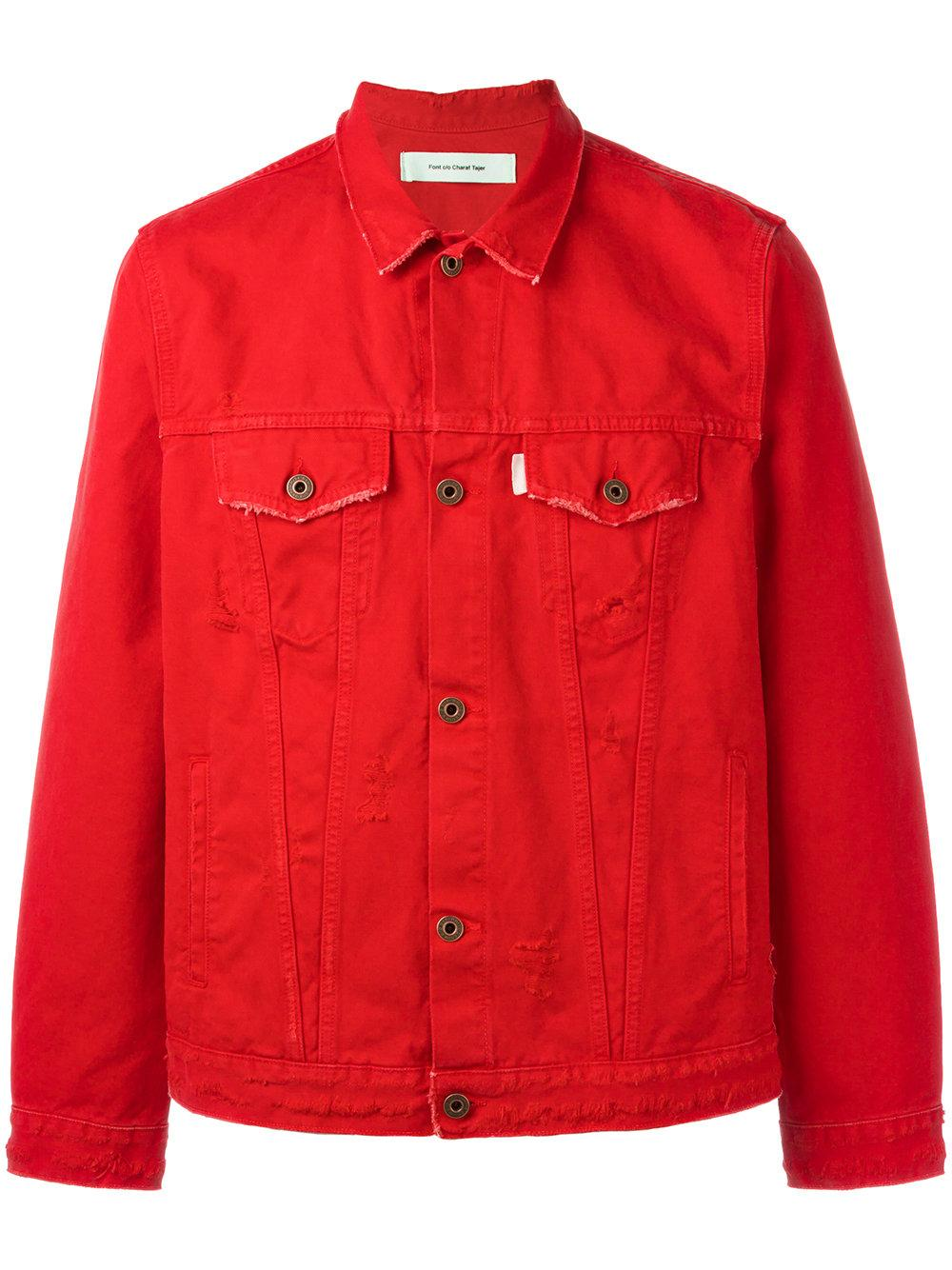 Pre-owned Denim Jacket in red ( MYR) liked on Polyvore featuring outerwear, jackets, red, lined denim jacket, red jean jacket, red denim jacket, fleece-lined jackets and long sleeve jacket See more.