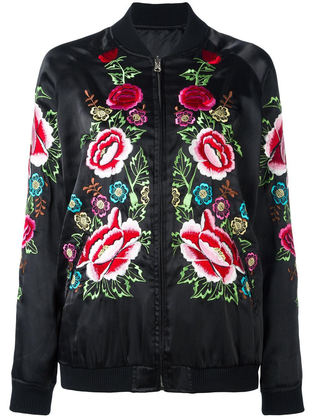 Parosh Rose Embroidered Bomber Jacket In Black  Lyst