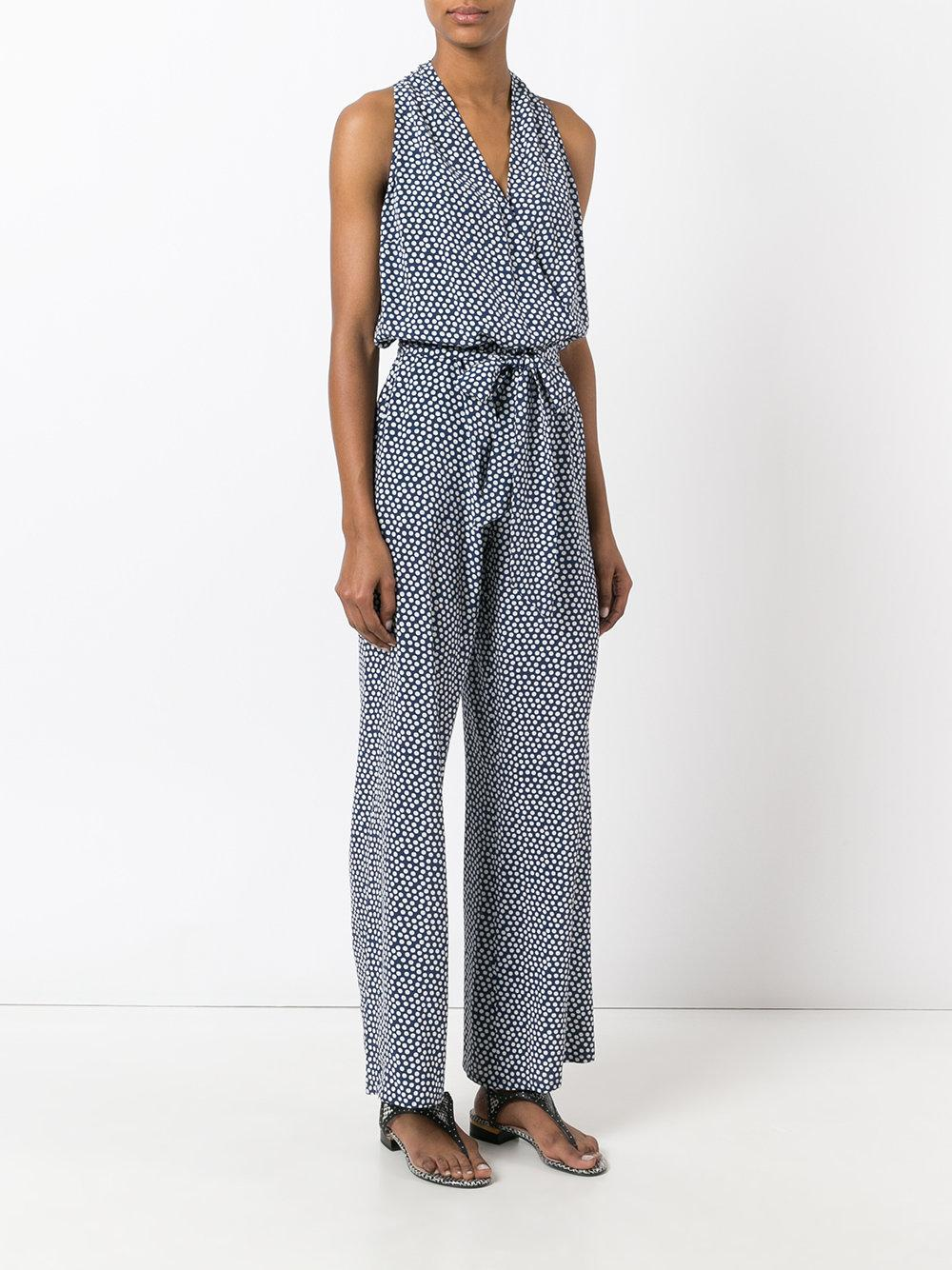 Tory burch long pois jumpsuit in blue lyst for Tory burch fashion island