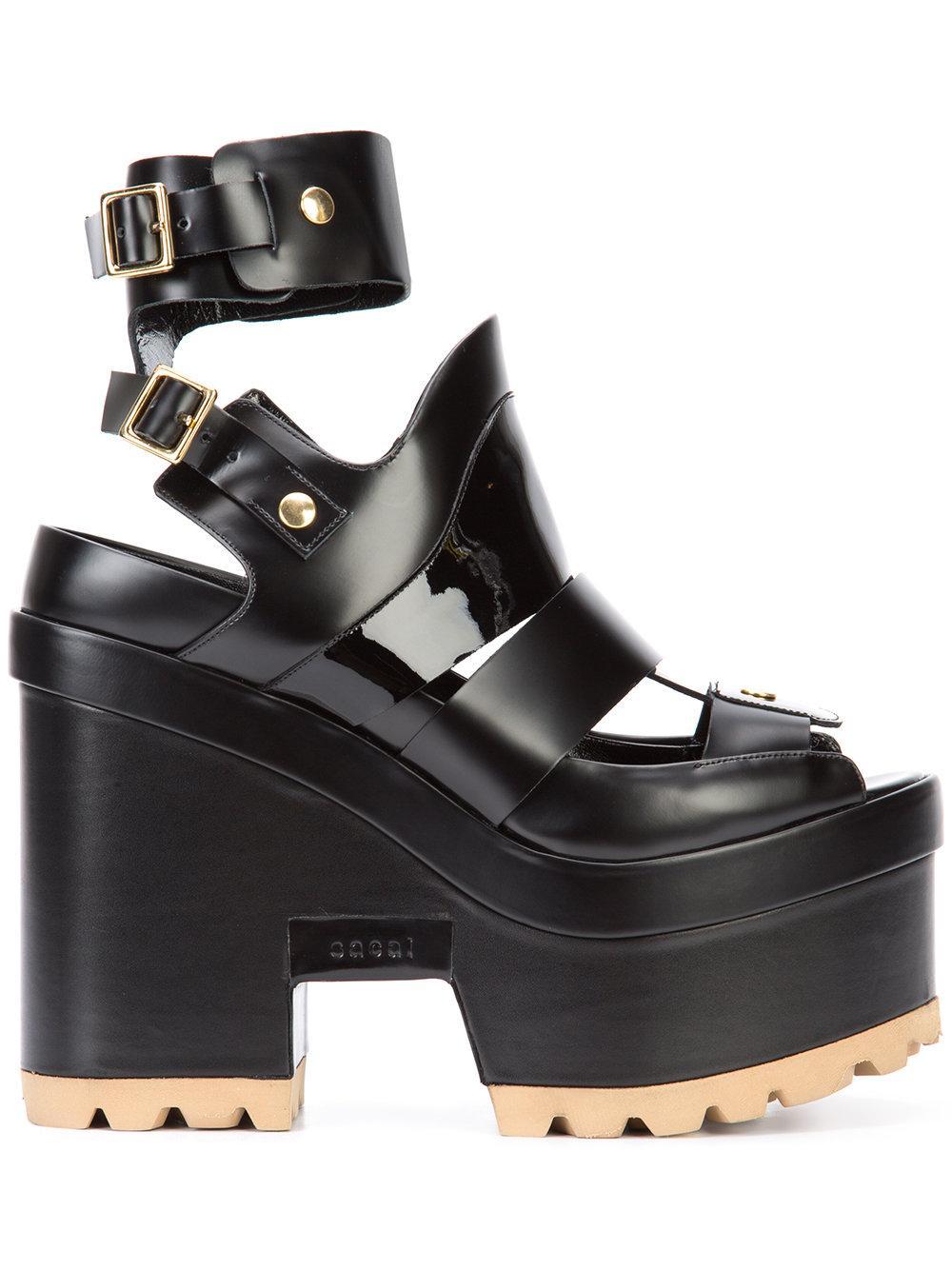Lyst Sacai Platform Sandals In Black