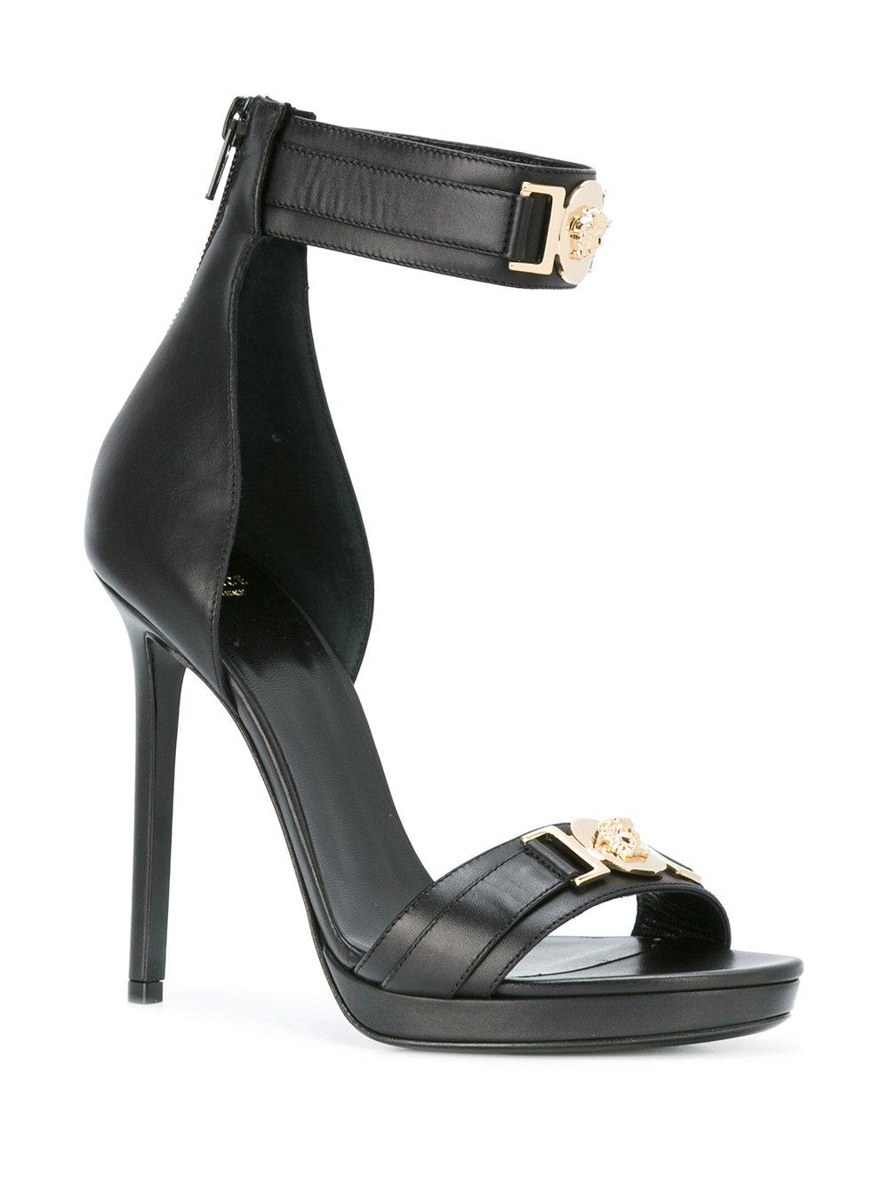 Versace Medusa Plaque Heel Sandals In Black