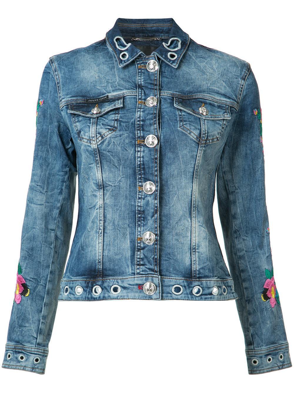 Philipp plein floral embroidered denim jacket in blue lyst