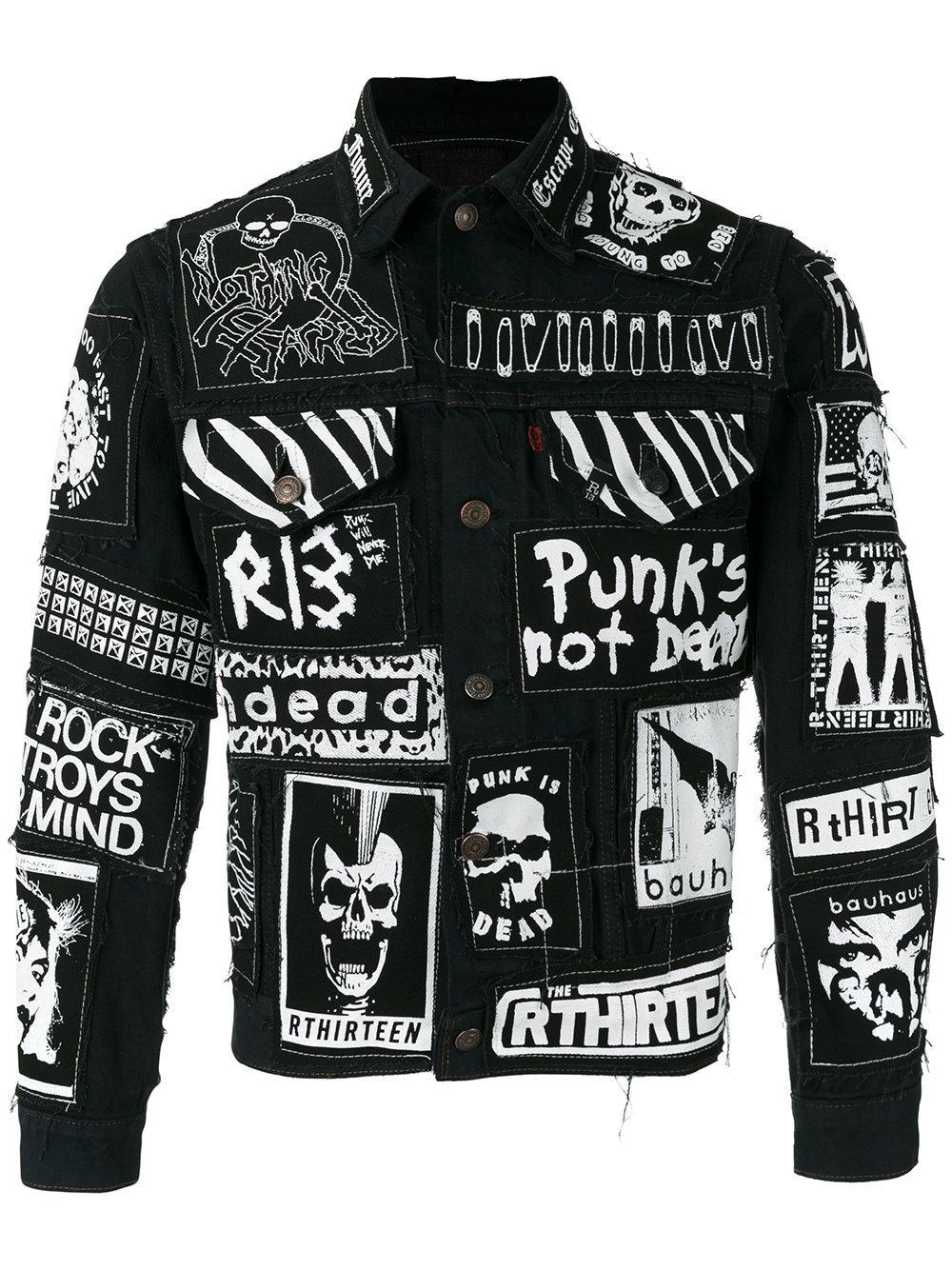R13 Graffiti Effect Denim Jacket In Black For Men Lyst