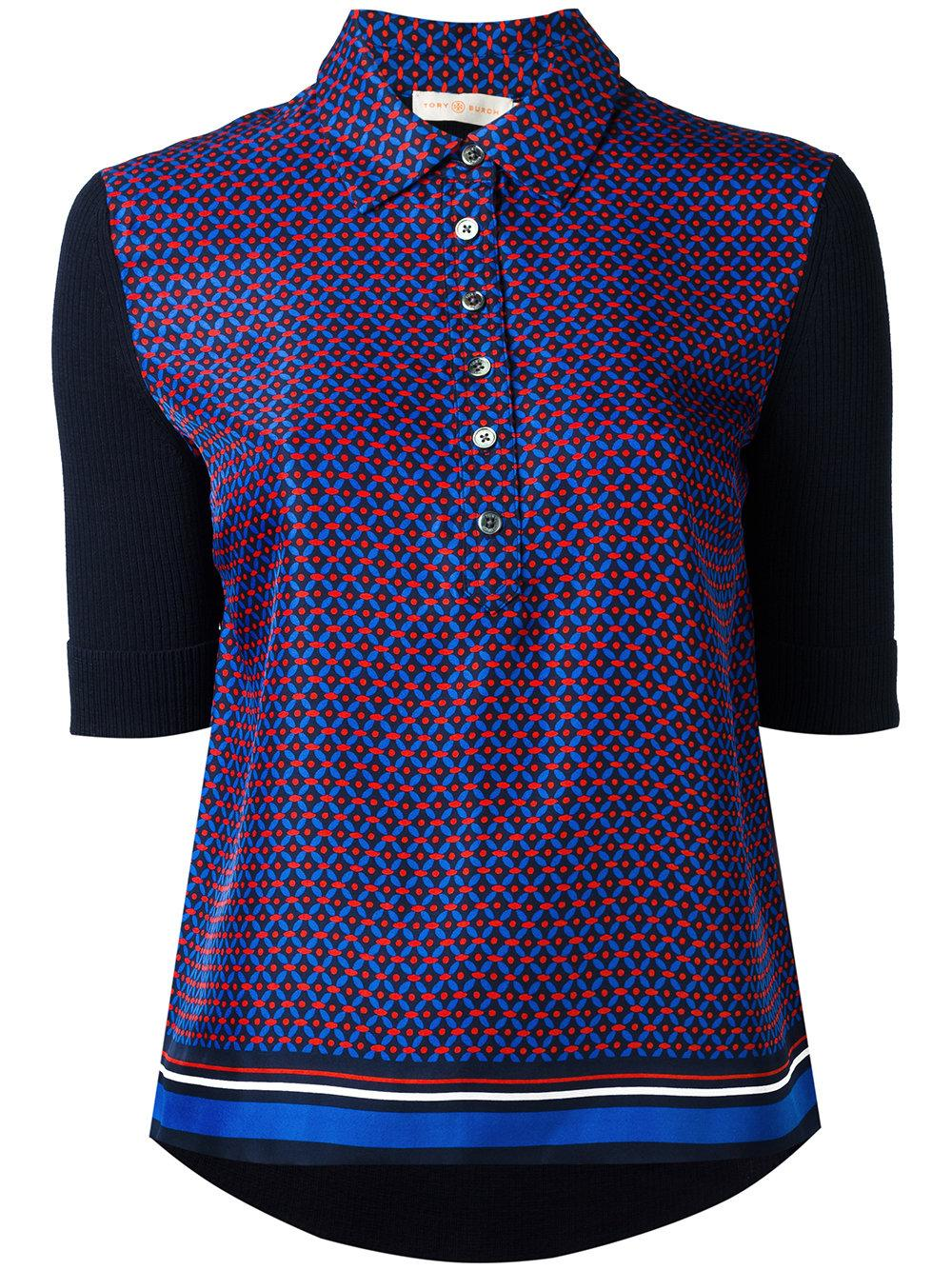 Lyst Tory Burch Printed Polo Shirt In Blue