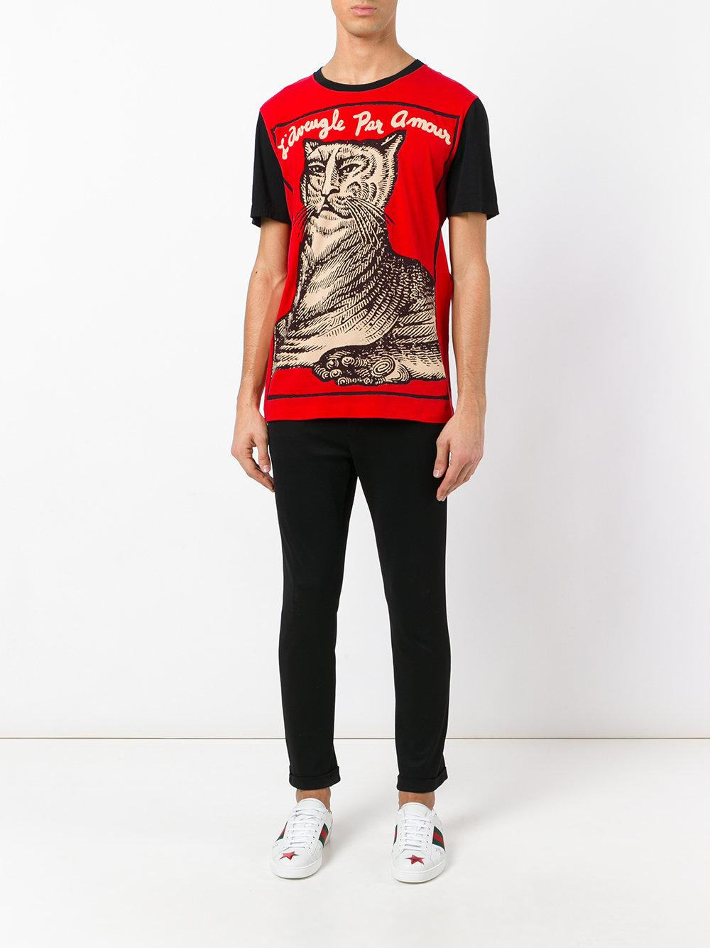 Gucci L Aveugle Par Amour T Shirt In Red For Men Lyst