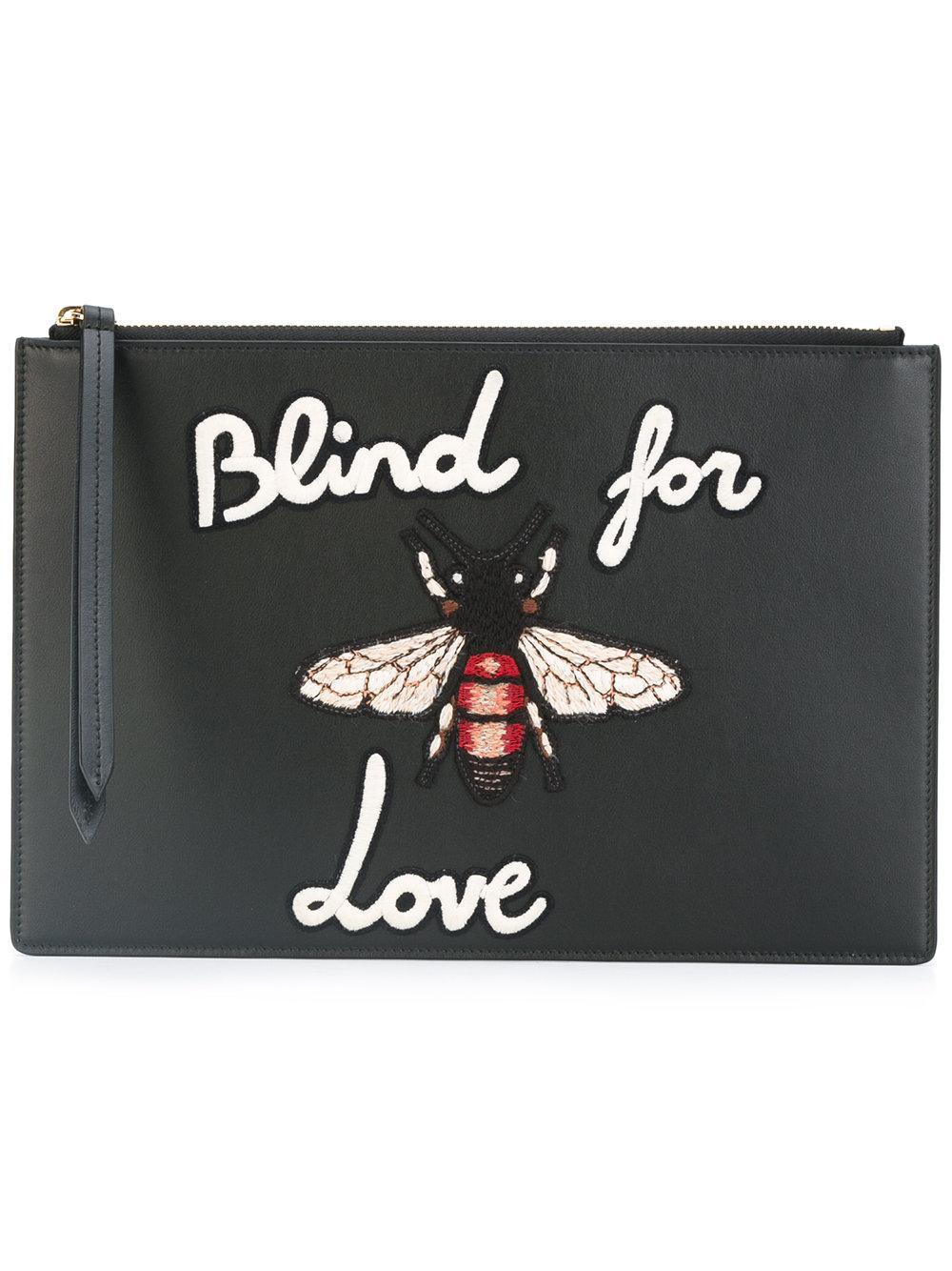 4fe47a64cb44 Gucci Blind For Love Clutch Bag in Black - Lyst