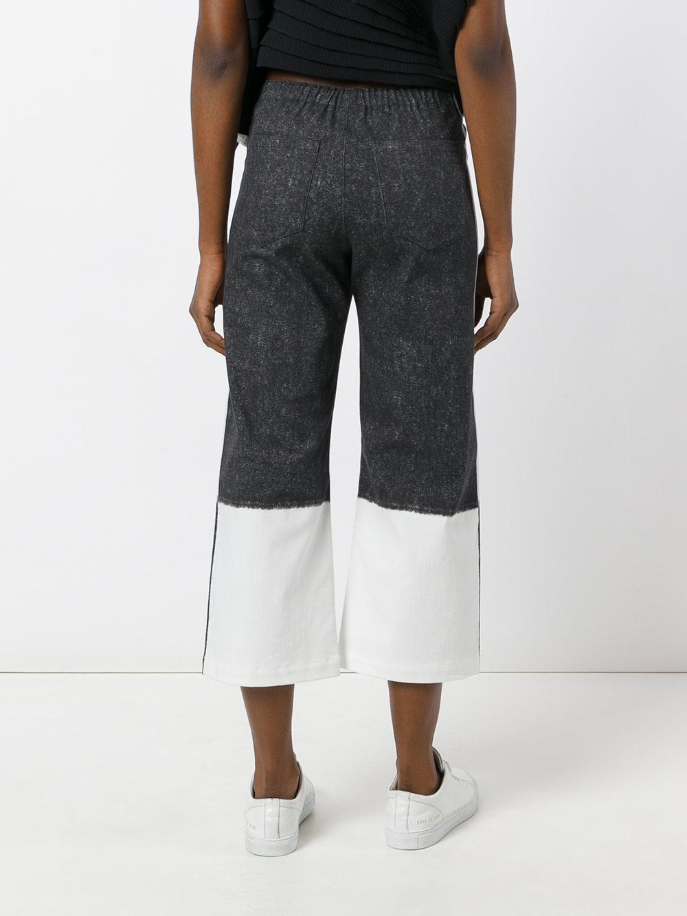 issey miyake cauliflower flared cropped trousers in black lyst. Black Bedroom Furniture Sets. Home Design Ideas