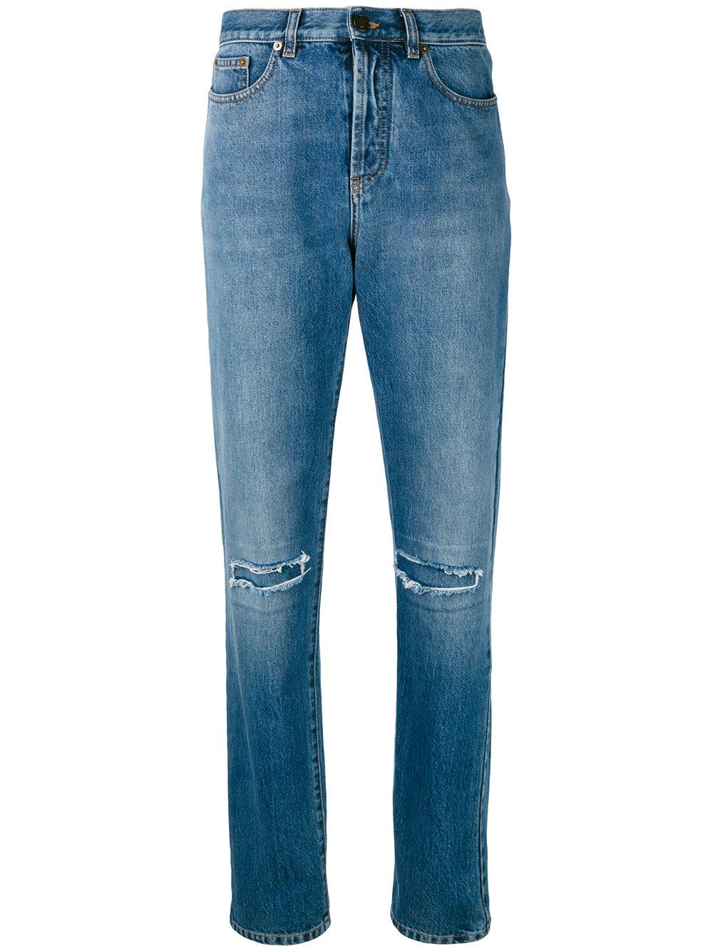 Saint laurent Slim Fit Knee Hole Jeans in Blue | Lyst