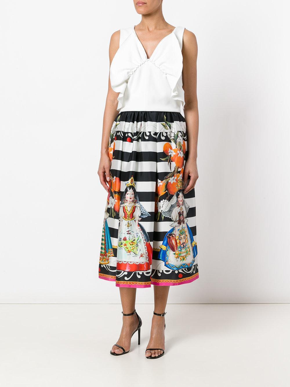Lyst Dolce Amp Gabbana Doll Print Skirt In Black
