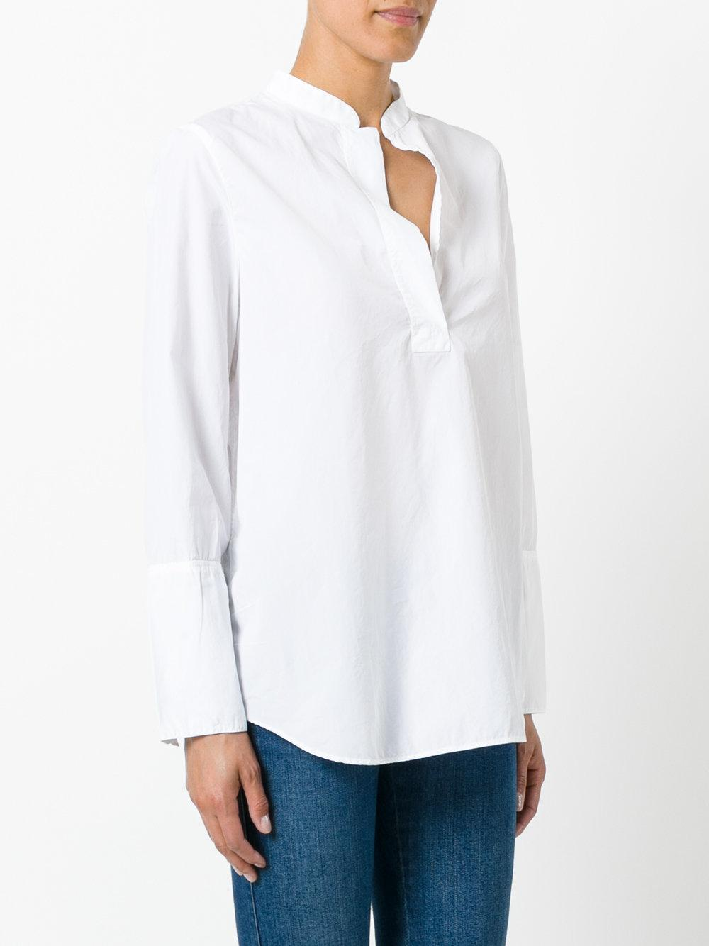 Lyst Hope Grandad Collar Loose Shirt In White