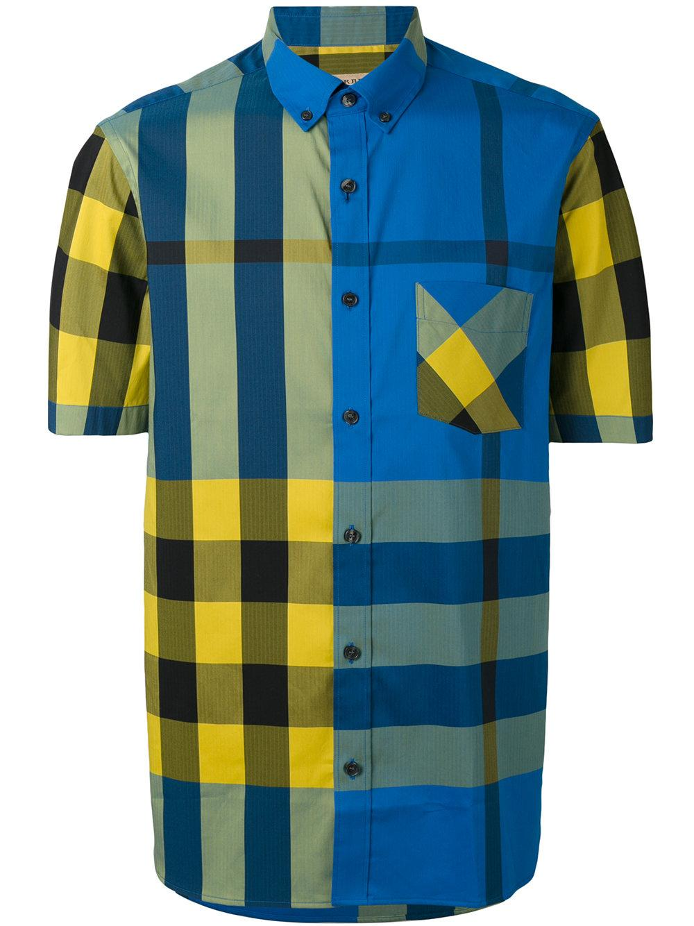 Lyst burberry check short sleeve shirt in blue for men for Blue and yellow plaid dress shirt