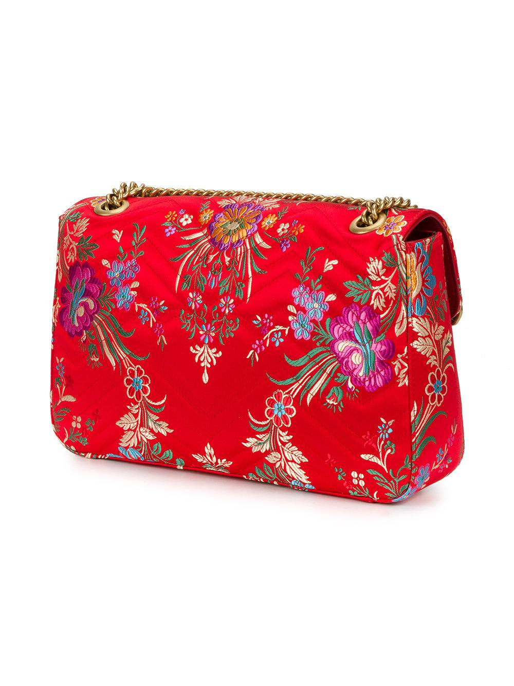 Lyst - Gucci Floral Jacquard Gg Marmont Shoulder Bag In Red