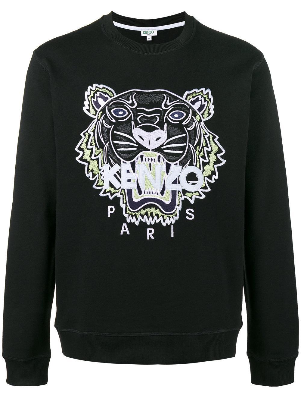 kenzo tiger embroidered sweatshirt in black for men lyst. Black Bedroom Furniture Sets. Home Design Ideas