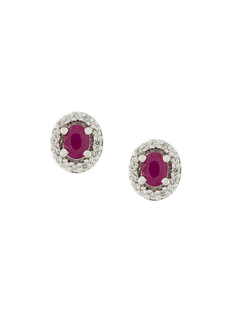 Wouters & Hendrix 18kt gold, diamond and emerald stud earrings - Metallic