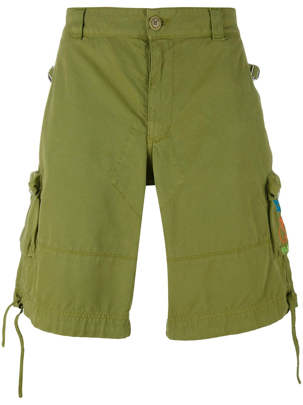moschino logo pocket cargo shorts in green for men lyst. Black Bedroom Furniture Sets. Home Design Ideas