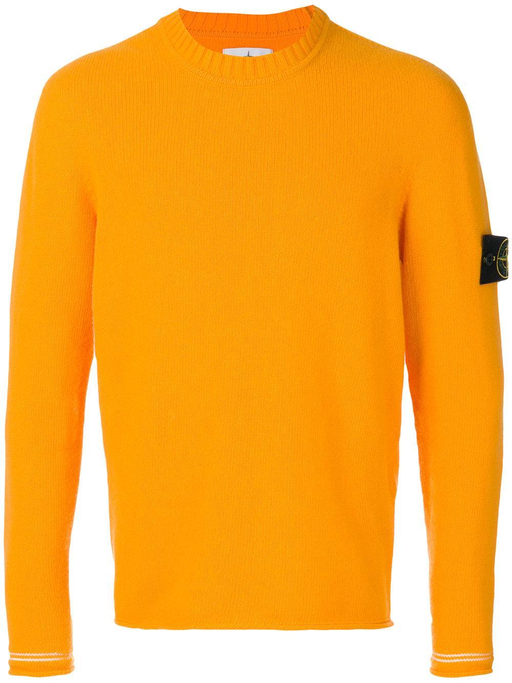stone island long sleeve pullover in orange for men lyst. Black Bedroom Furniture Sets. Home Design Ideas