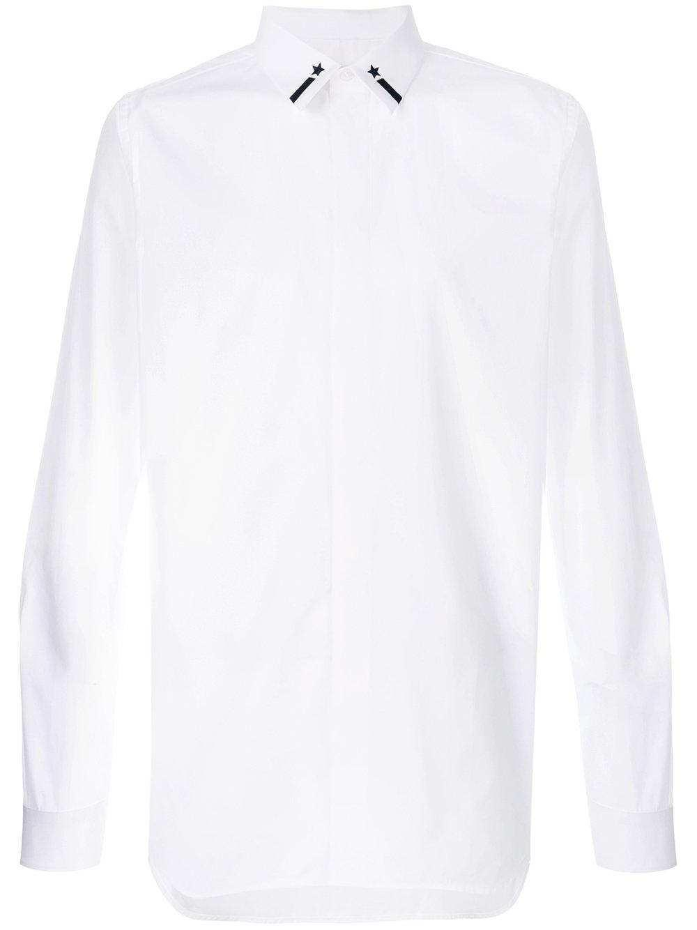 Givenchy star and stripe embroidered shirt in white for for Givenchy 5 star shirt