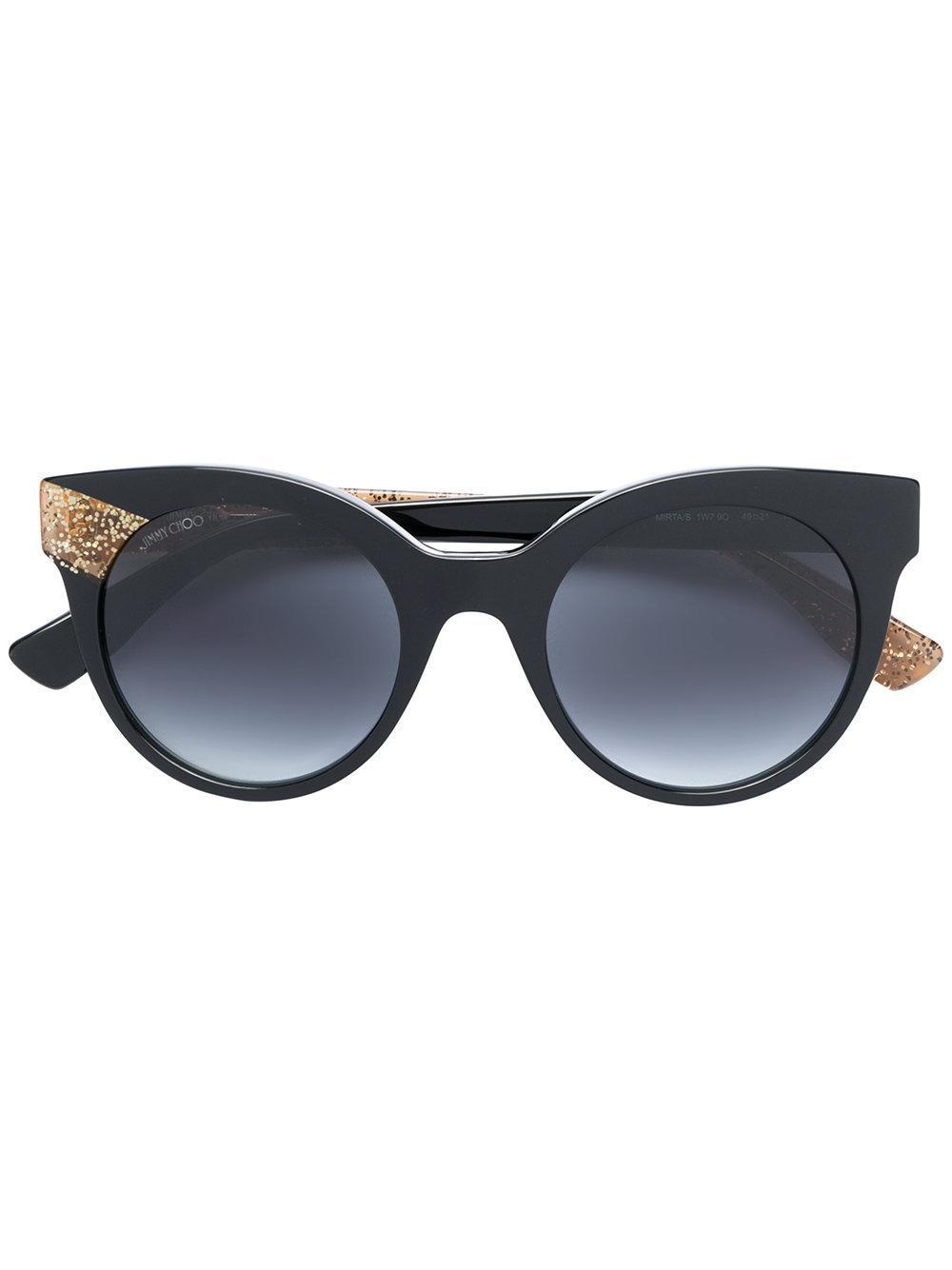 jimmy choo occhiali da sole a occhio di gatto in black lyst