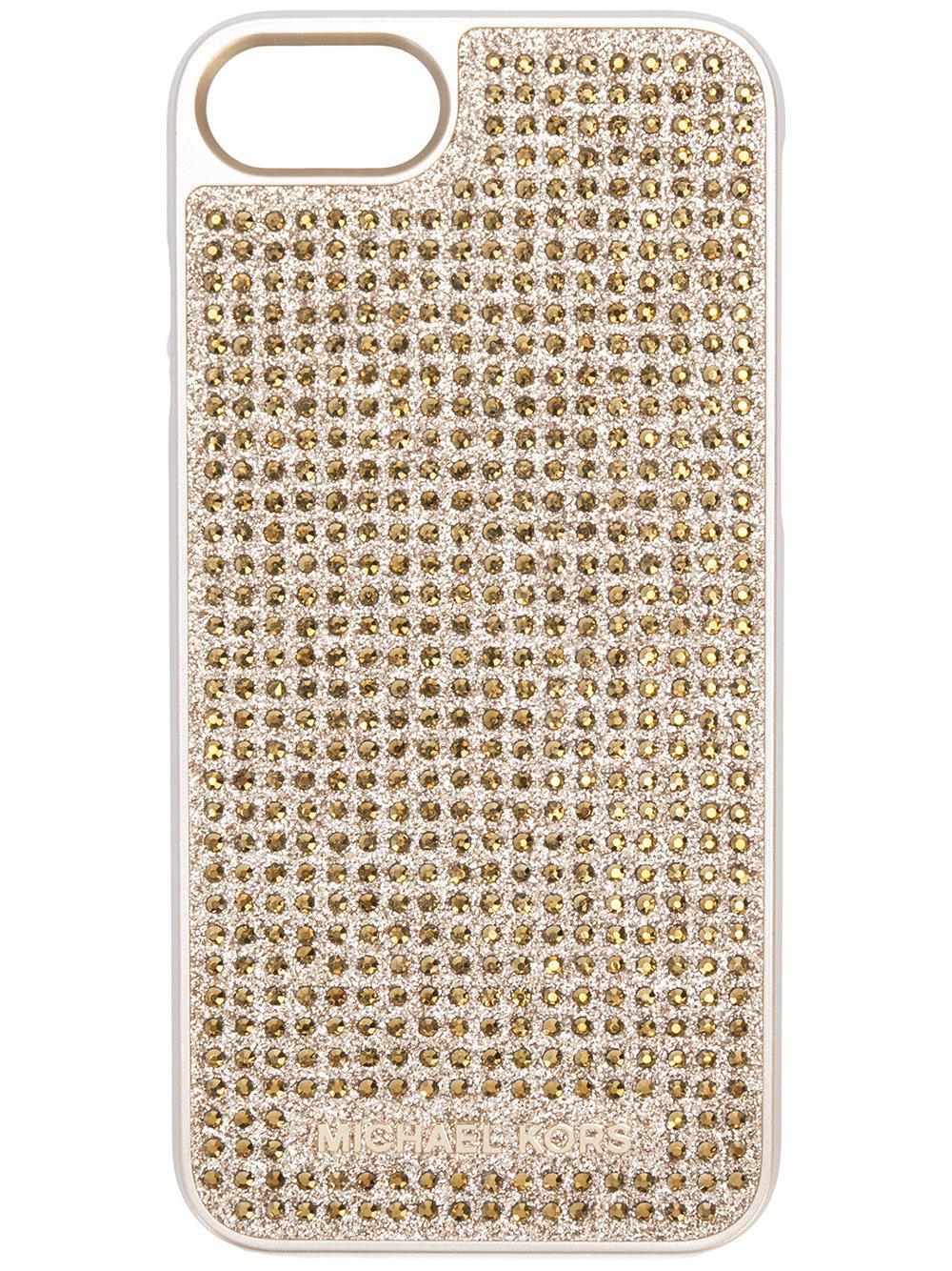 lyst michael michael kors embellished iphone 7 case. Black Bedroom Furniture Sets. Home Design Ideas
